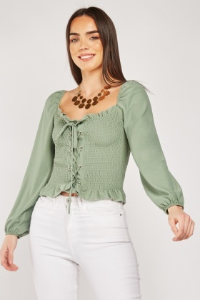 Lace Up Shirred Top