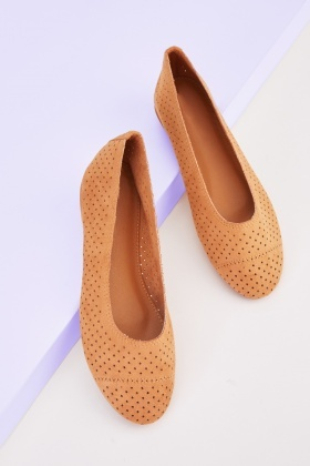 Laser Cut Flat Ballerina Pumps