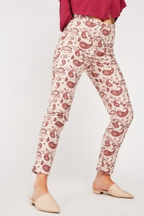 Paisley Embroidered Cigarette Trousers