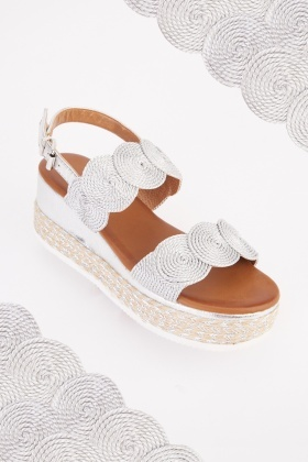 Wave Trim Wedged Sandals