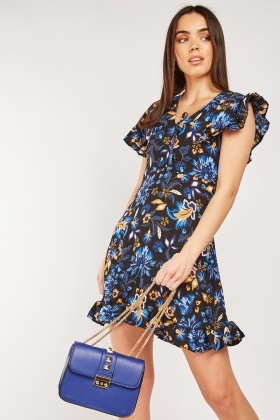 Frilly Panel Printed Mini Dress