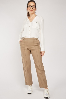 Straight Cut Trousers In Taupe