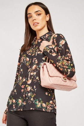 Rose Print Button Front Shirt