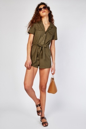 Belted Olive Cotton Playsuit