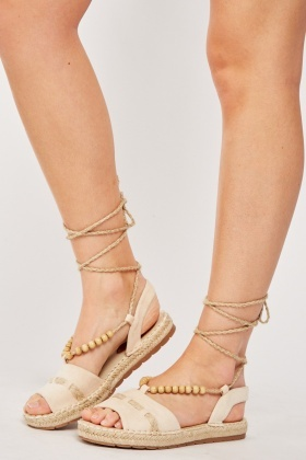Rope Tie Up Platform Sandals