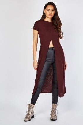 Deep Slit Front Long Cotton Top