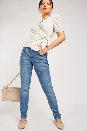 Flower Embroidered Jeans $7.10