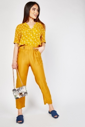 Button Trim Sheer Tapered Trousers