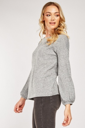 Encrusrted Sleeve Jersey Knit Top