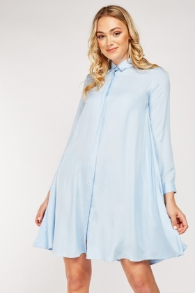 Flared Long Sleeve Shirt Dress
