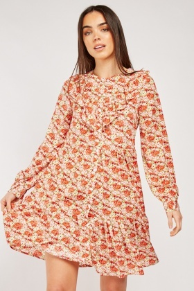 Frill Floral Print Tiered Smock Dress