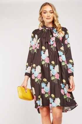 Floral Pussybow Smock Dress