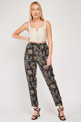 Paisley Print Tapered Trousers