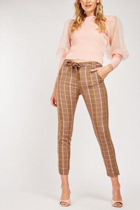 Tie Up Plaid Trousers