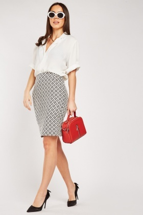 Tile Print Mini Skirt