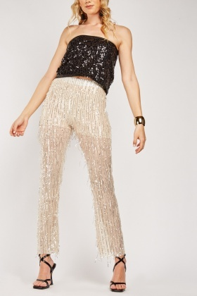 Disco Sequin Eyelash Trousers