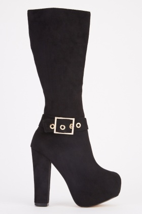Buckle Detail Suedette Ankle Boots