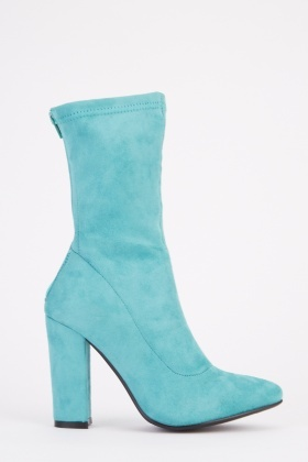 Suedette Ankle Heel Boots