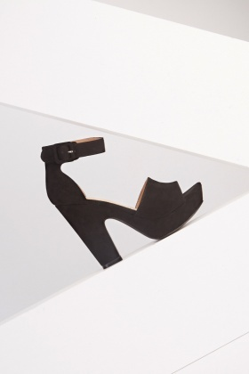 Suedette Platform Heeled Sandals