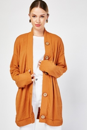 Buttoned Front Rib Knit Cardigan