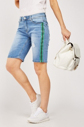 Long Line Denim Shorts