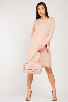 Faux Pearl Embellished Tunic Dress