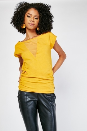 Ruched Side Mesh Insert Top