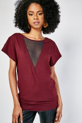 V-Neck Mesh Insert Top