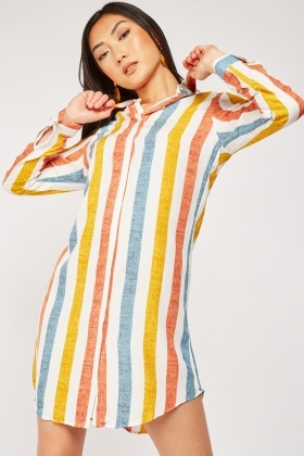 Striped Viscose Shirt Dress