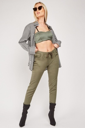 Drawstring Waist Skinny Olive Trousers