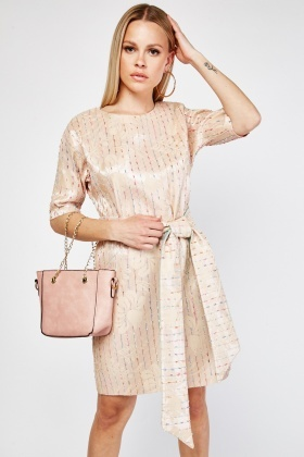 Textured Tweed Trim Shift Dress