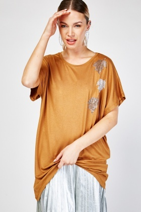 Encrusted Leave Front Oversized Top