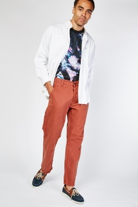 Straight Cut Mens Cotton Trousers