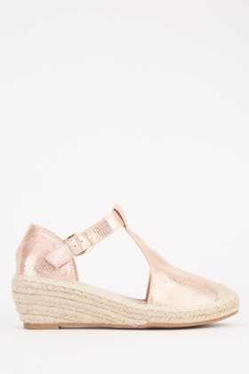 Contrasted T-Strap Espadrilles