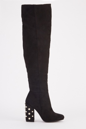 Faux Pearl Studded Heel Knee High Boots