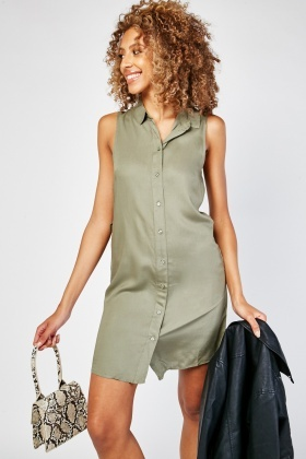 Sleeveless Plain Shirt Dress