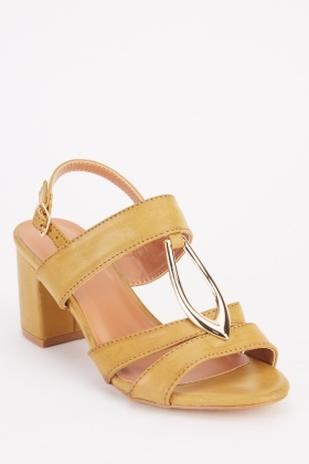 Metallic Front Detail Heel Sandals