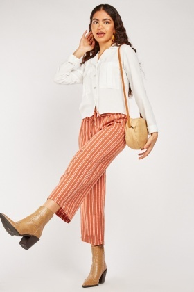 Textured Striped Crop Trousers