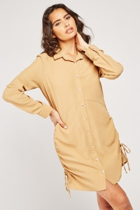 Tie Up Gathered Side Shirt Dress