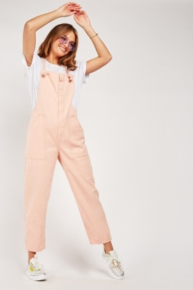 Tie Up Strap Light Pink Dungarees