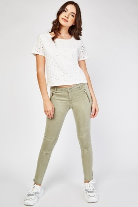 Zipper Front Skinny Trousers