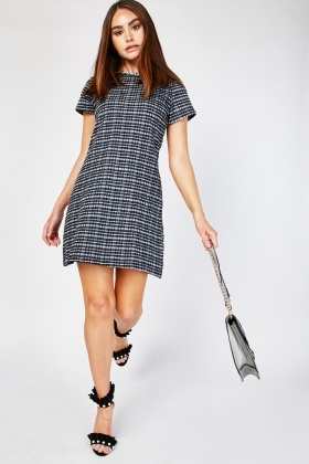 Raw Neckline Tweed Dress