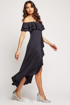Ruffle Off Shoulder Dip Hem Dress