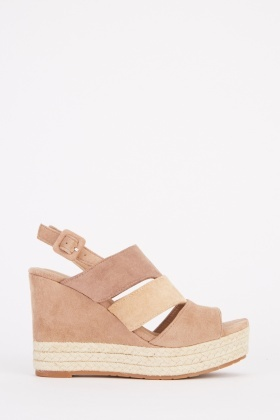 Suedette Contrasted Wedge Sandals