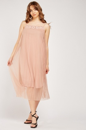 Crochet Insert Pleated Dress