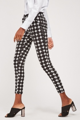 Large Polka Dot Print Trousers