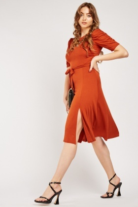 Ruched Sleeve Tie Up Dress