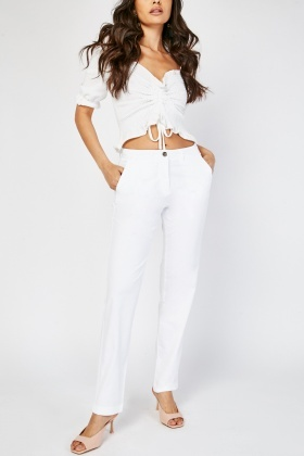 Straight Fit Mid Waist Trousers