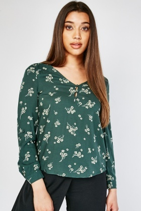 Button Front Flower Print Blouse