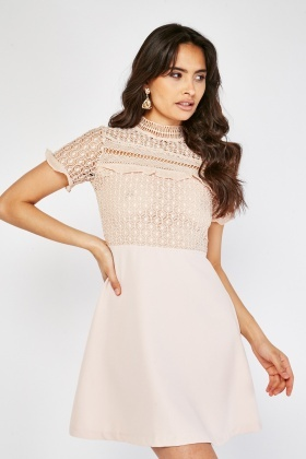 Crochet Overlay Swing Mini Dress